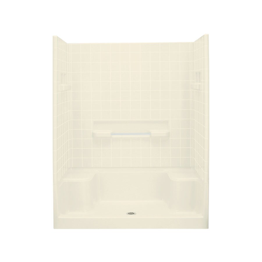 Sterling Advantage Biscuit Vikrell Wall and Floor 4-Piece Alcove Shower Kit (Common: 34-in x 60-in; Actual: 77.25-in x 35.25-in x 60-in)