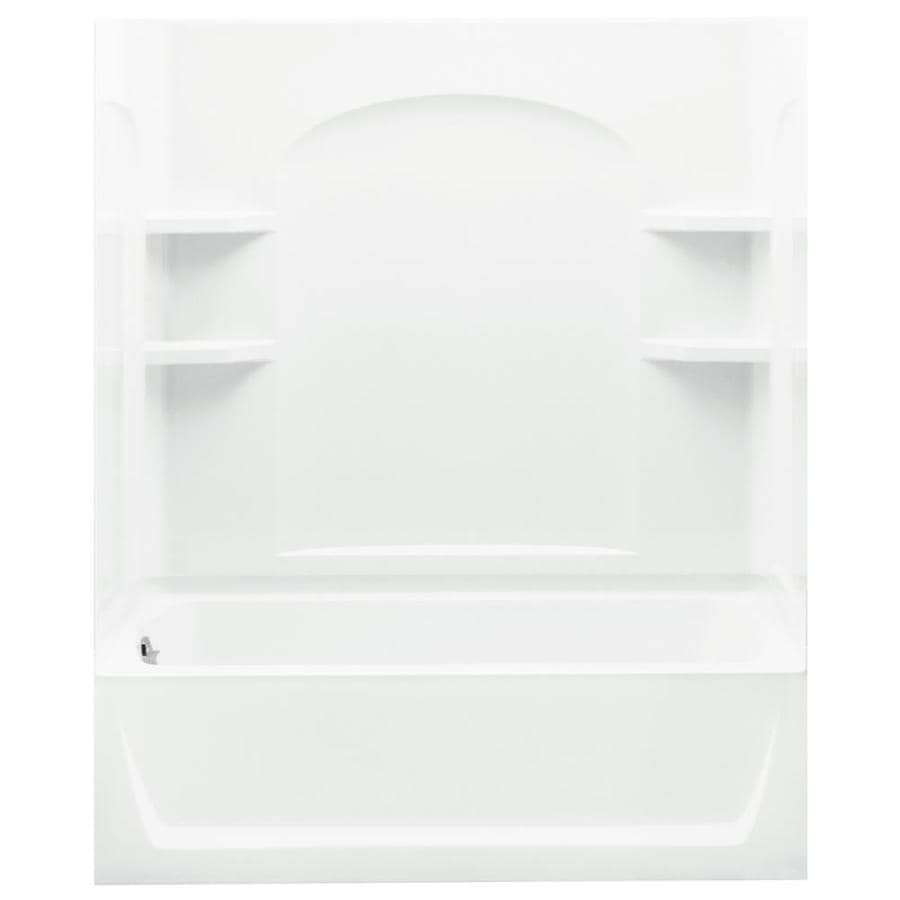 Sterling Ensemble White Vikrell Wall and Floor 4-Piece Alcove Shower Kit with Bathtub (Common: 32-in x 60-in; Actual: 74-in x 32-in x 60-in)