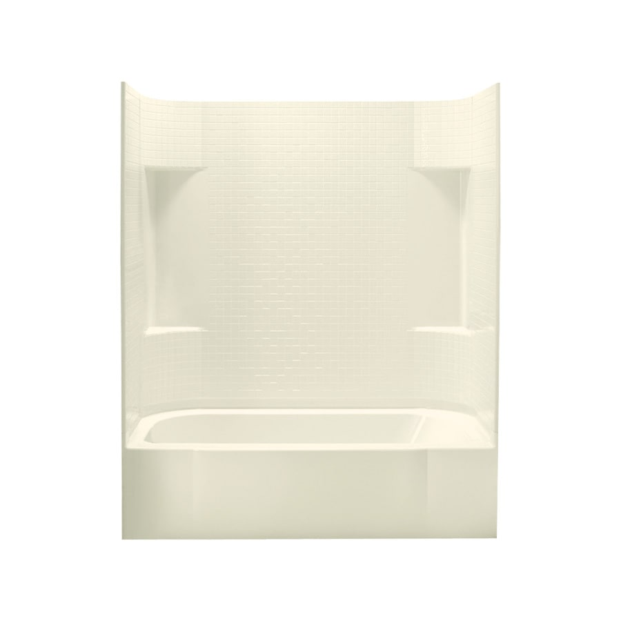 Sterling Accord Biscuit Fiberglass and Plastic Composite Rectangular Skirted Bathtub with Left-Hand Drain (Common: 30-in x 60-in; Actual: 72-in x 30.5-in x 60.25-in)
