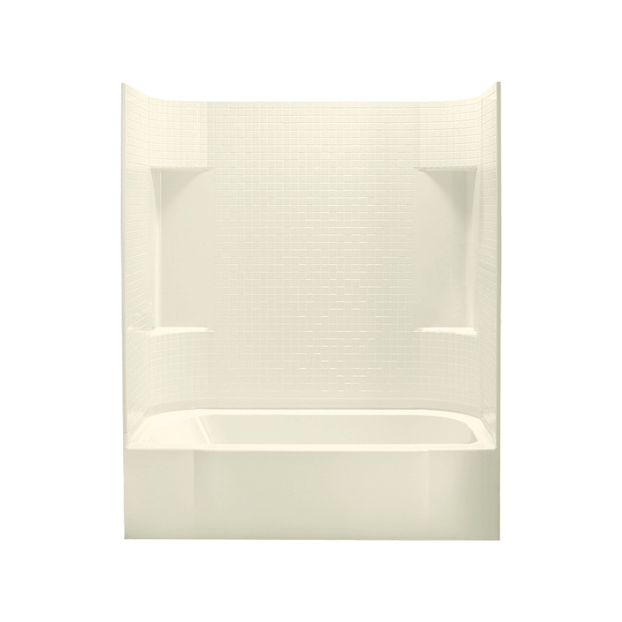 Sterling Accord Biscuit Fiberglass and Plastic Composite Rectangular Skirted Bathtub with Right-Hand Drain (Common: 30-in x 60-in; Actual: 72-in x 30.5-in x 60.25-in)