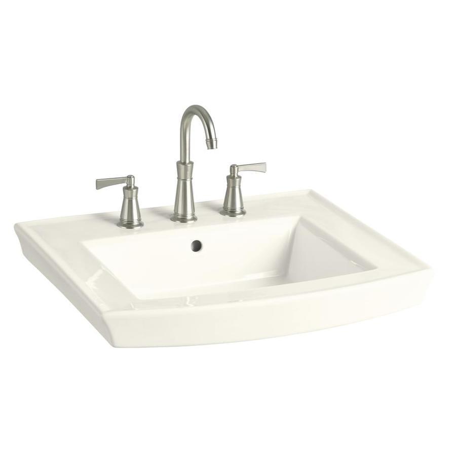 KOHLER Archer 23.9375-in L x 20.4375-in W Biscuit Vitreous China Rectangular Pedestal Sink Top