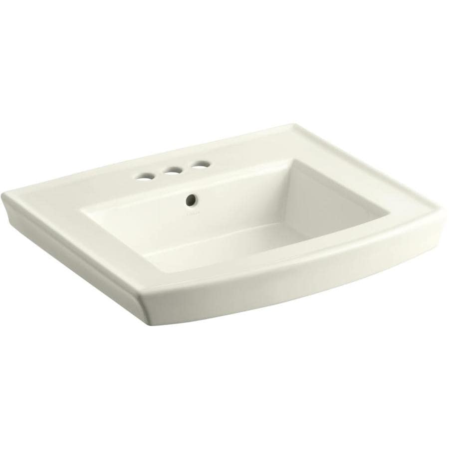 KOHLER Archer 23.9375-in L x 20.4375-in W Biscuit Vitreous China Rectangular Pedestal Sink Top