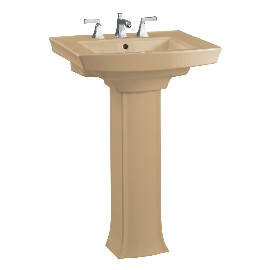 KOHLER Archer 35-in H Mexican Sand Vitreous China Pedestal Sink