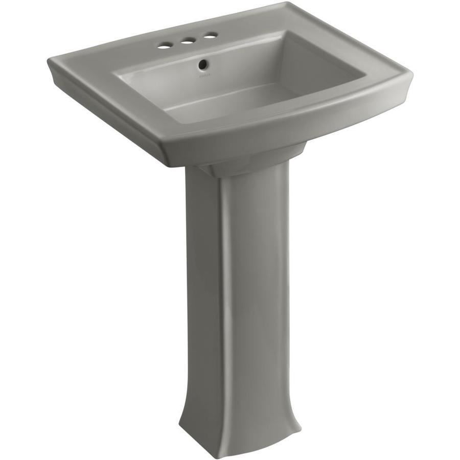 KOHLER Archer 35-in H Cashmere Vitreous China Pedestal Sink