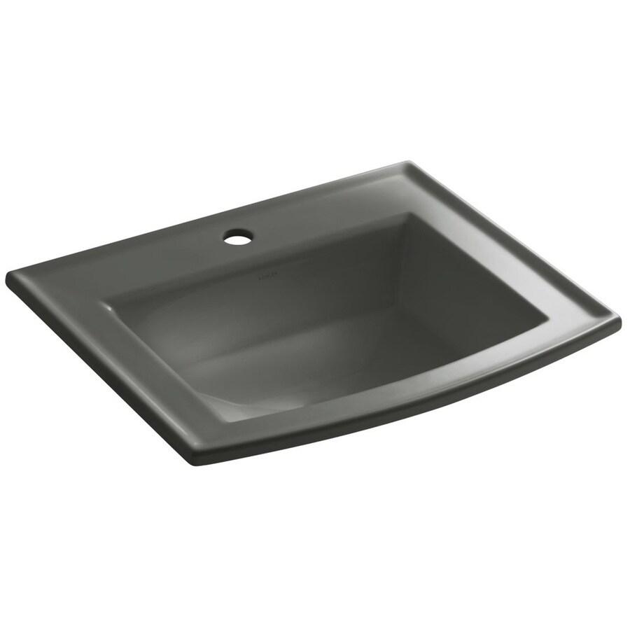 KOHLER Archer Thunder Grey Drop-in Rectangular Bathroom Sink with Overflow