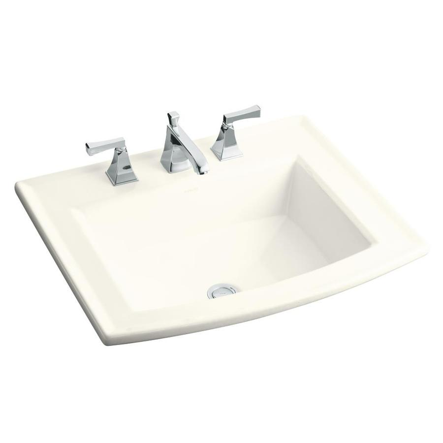 Kohler Drop In Bathroom Sink : KOHLER Archer Biscuit Drop-in Rectangular Bathroom Sink with Overflow