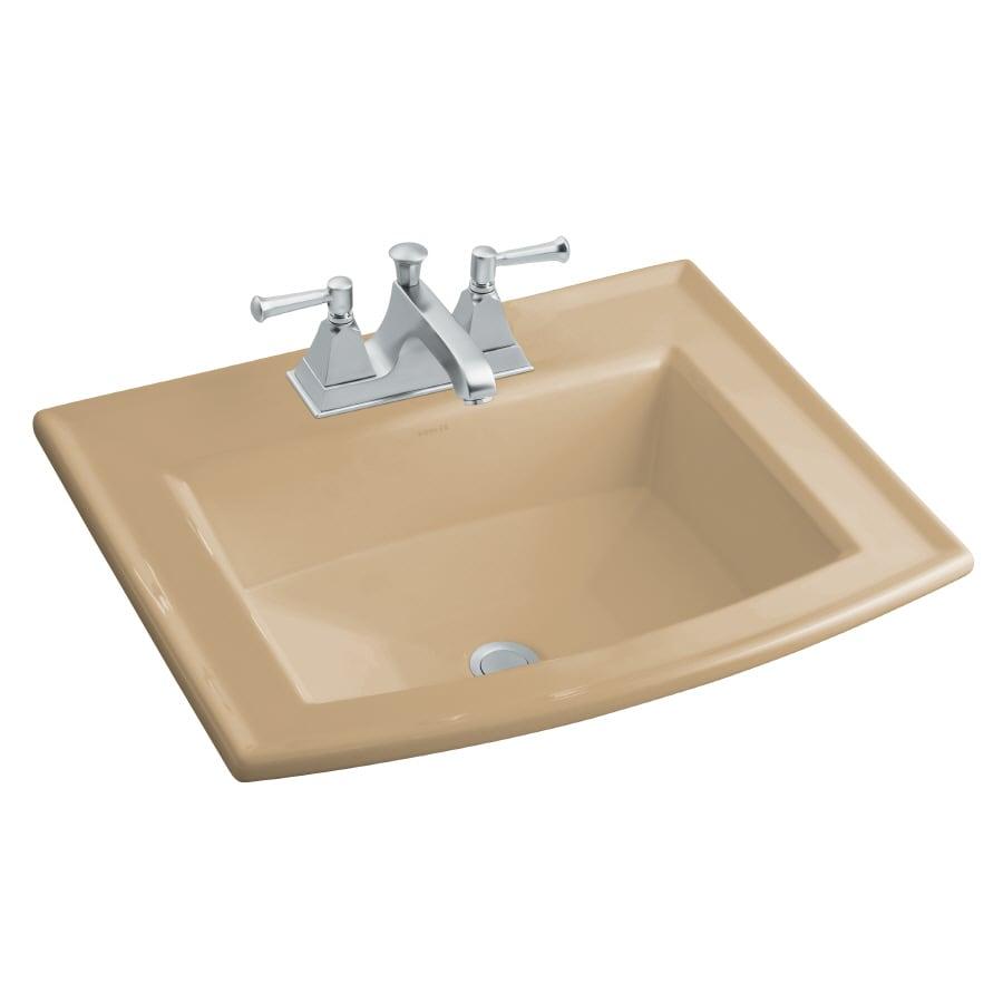 KOHLER Archer Mexican Sand Drop-in Rectangular Bathroom Sink with Overflow