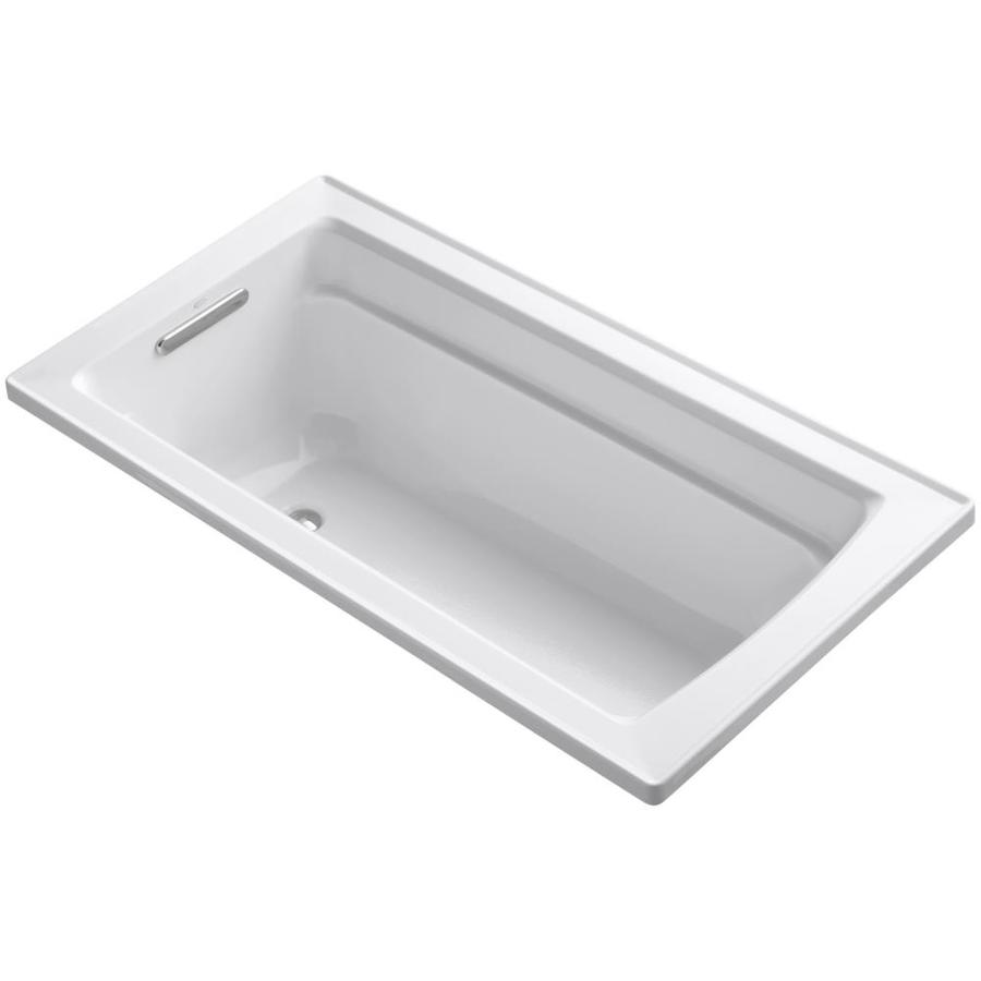 Archer White Acrylic Rectangular Drop-in Bathtub with Reversible Drain (Common: 32-in x 60-in; Actual: 19-in x 32-in x 60-in) Product Photo
