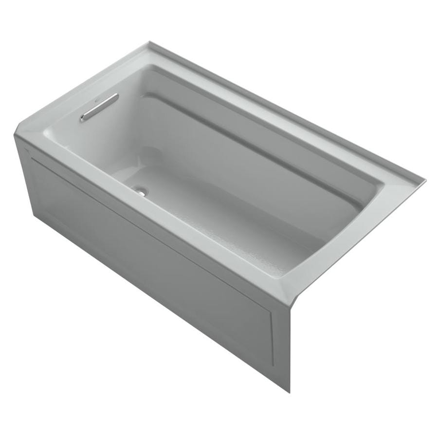 KOHLER Archer Ice Grey Acrylic Rectangular Alcove Bathtub with Left-Hand Drain (Common: 32-in x 60-in; Actual: 19-in x 32-in x 60-in)