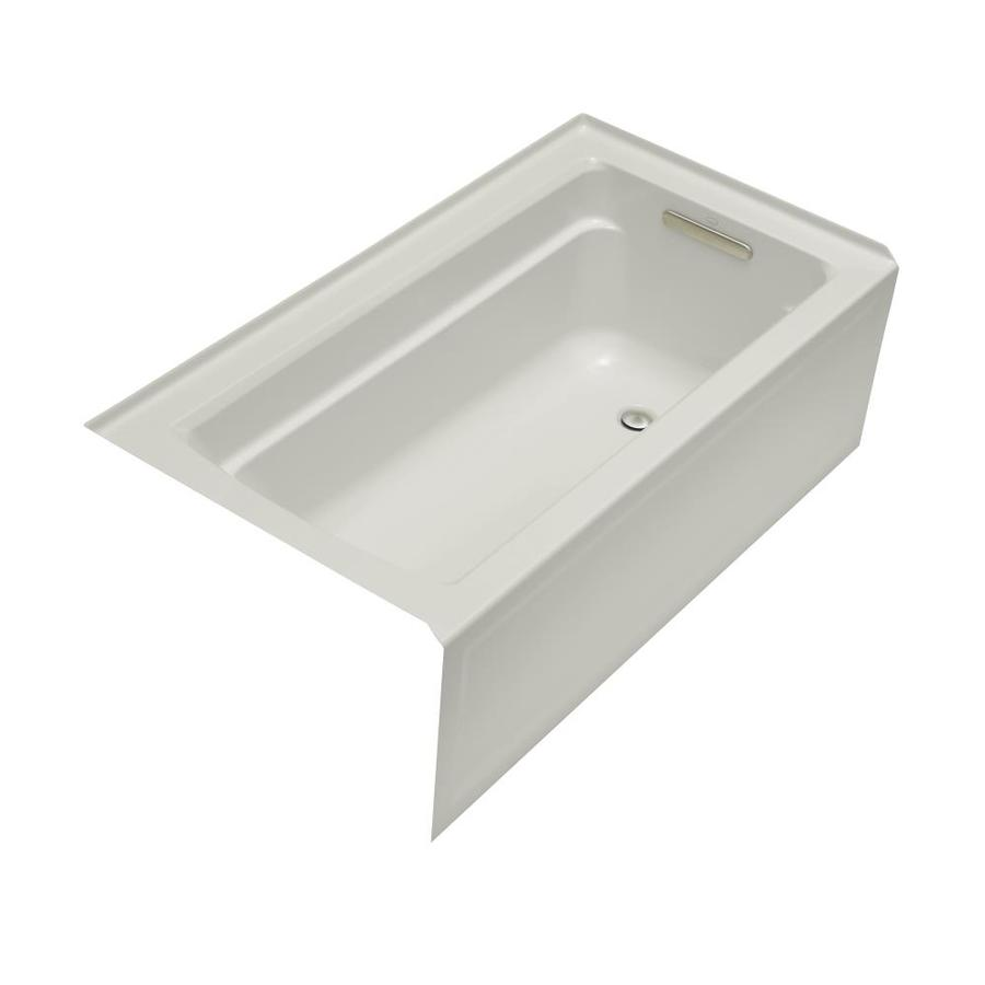 KOHLER Archer Ice Grey Acrylic Rectangular Alcove Bathtub with Right-Hand Drain (Common: 32-in x 60-in; Actual: 19-in x 32-in x 60-in)