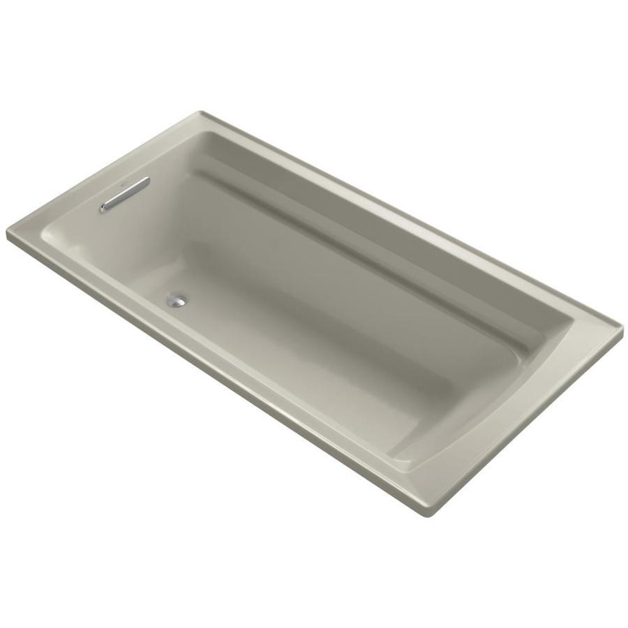 KOHLER Archer Sandbar Acrylic Rectangular Drop-in Bathtub with Reversible Drain (Common: 36-in x 72-in; Actual: 19-in x 36-in x 72-in)