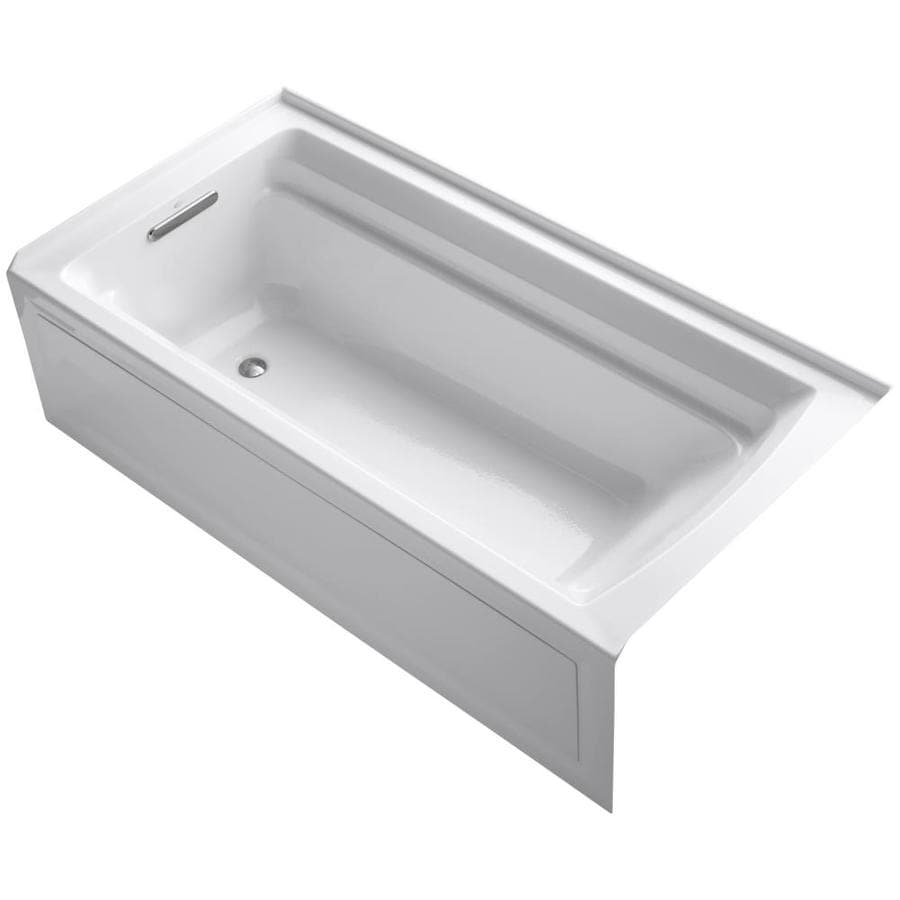 Shop kohler archer white acrylic rectangular alcove for Deep alcove bathtubs