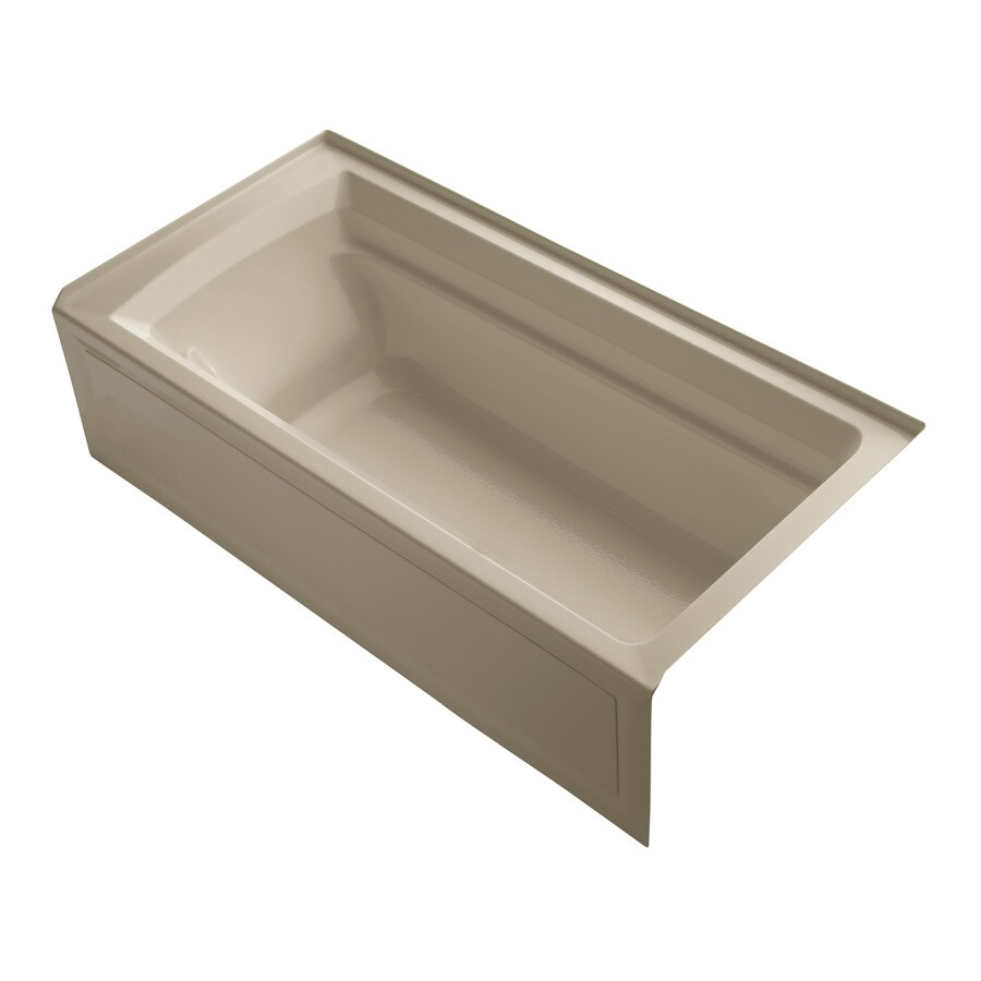 KOHLER Archer Mexican Sand Acrylic Rectangular Alcove Bathtub with Right-Hand Drain (Common: 36-in x 72-in; Actual: 19-in x 36-in x 72-in)