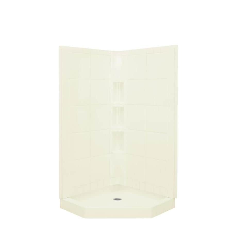 Sterling Intrigue Biscuit Fiberglass and Plastic Neo-Angle 3-Piece Corner Shower Kit (Actual: 79.125-in x 40.25-in x 40.25-in)