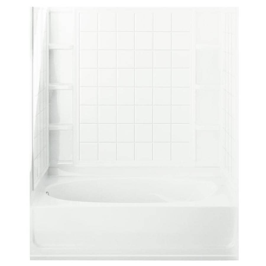 Sterling Ensemble AFD White Vikrell Wall and Floor 4-Piece Alcove Shower Kit with Bathtub (Common: 36-in x 60-in; Actual: 74.25-in x 36-in x 60-in)