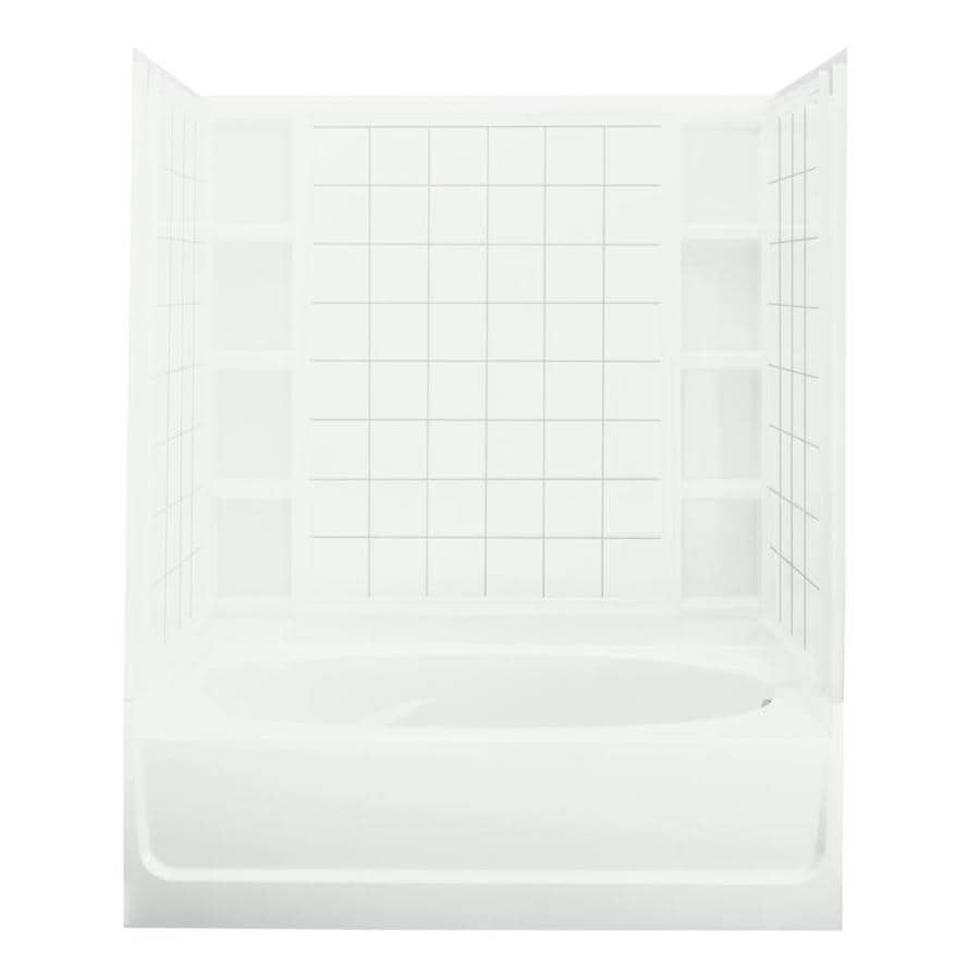 Sterling Ensemble White Vikrell Wall and Floor 4-Piece Alcove Shower Kit with Bathtub (Common: 42-in x 60-in; Actual: 72-in x 42-in x 60-in)