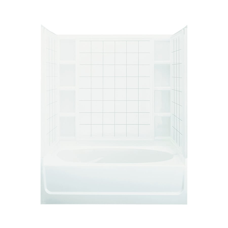 Sterling Ensemble White Fiberglass and Plastic Composite Oval In Rectangle Skirted Bathtub with Right-Hand Drain (Common: 42-in x 60-in; Actual: 72-in x 42-in x 60.25-in)