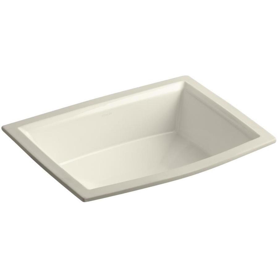 KOHLER Archer Almond Undermount Rectangular Bathroom Sink with Overflow