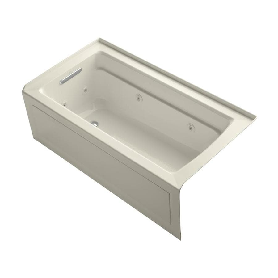 KOHLER Archer Almond Acrylic Rectangular Whirlpool Tub (Common: 32-in x 60-in; Actual: 19-in x 32-in x 60-in)