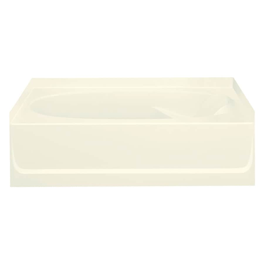 Sterling Ensemble Biscuit Fiberglass and Plastic Composite Oval In Rectangle Skirted Bathtub with Left-Hand Drain (Common: 36-in x 60-in; Actual: 20-in x 36-in x 60.25-in)