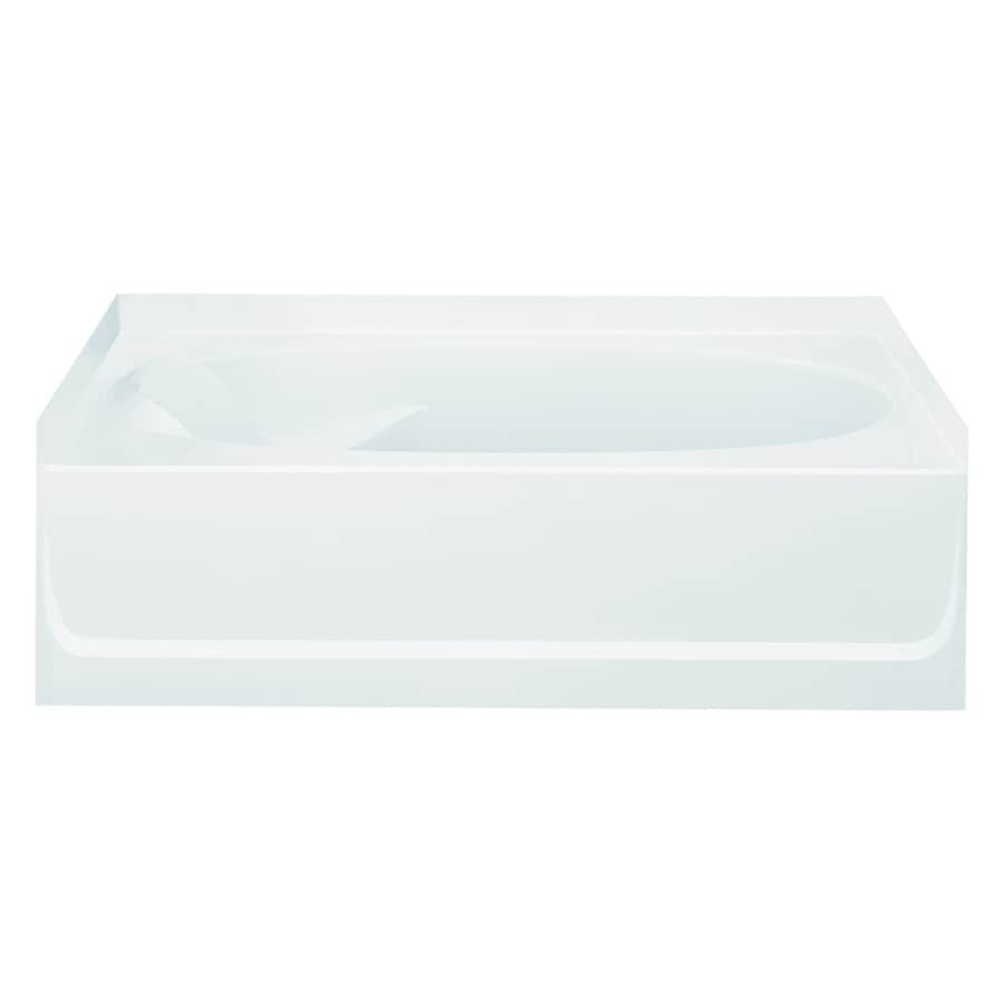 Sterling Ensemble White Fiberglass and Plastic Composite Oval In Rectangle Skirted Bathtub with Right-Hand Drain (Common: 36-in x 60-in; Actual: 20-in x 36-in x 60.25-in)