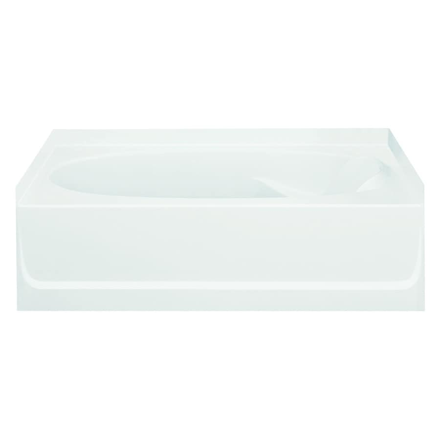Sterling Ensemble White Fiberglass and Plastic Composite Oval In Rectangle Skirted Bathtub with Left-Hand Drain (Common: 42-in x 60-in; Actual: 20-in x 42-in x 60.25-in)