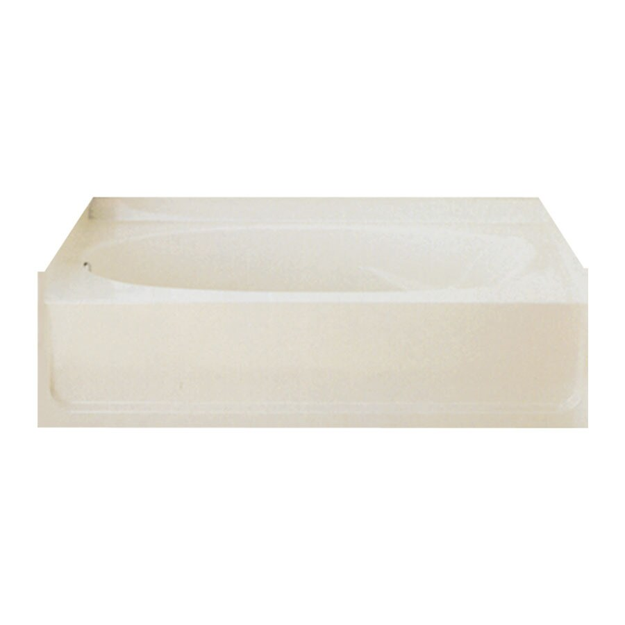 Sterling Ensemble Biscuit Fiberglass and Plastic Composite Oval In Rectangle Alcove Bathtub with Left-Hand Drain (Common: 42-in x 60-in; Actual: 16-in x 42-in x 60-in)
