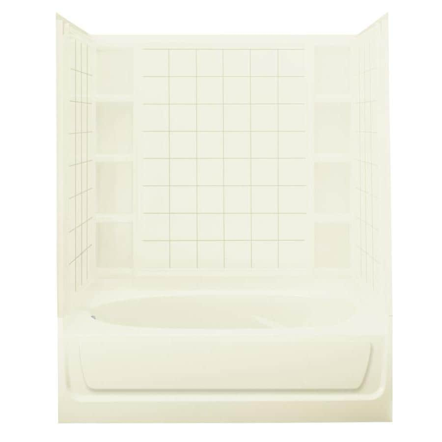 Sterling Ensemble Biscuit Vikrell Wall and Floor 4-Piece Alcove Shower Kit with Bathtub (Common: 42-in x 60-in; Actual: 72-in x 42-in x 60-in)