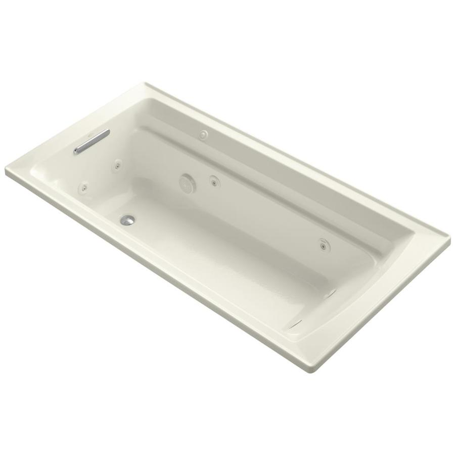 KOHLER Archer Biscuit Acrylic Rectangular Whirlpool Tub (Common: 36-in x 72-in; Actual: 19-in x 36-in x 72-in)