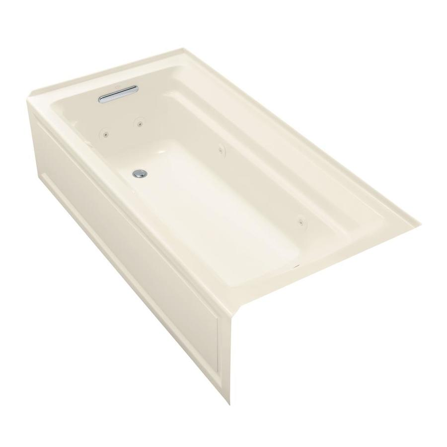 KOHLER Archer Almond Acrylic Rectangular Alcove Whirlpool Tub (Common: 36-in x 72-in; Actual: 19-in x 36-in)