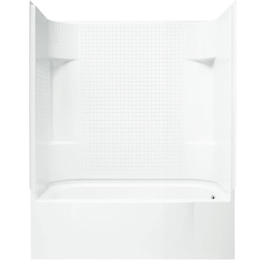 Sterling Accord AFD White Vikrell Wall and Floor 4-Piece Alcove Shower Kit with Bathtub (Common: 30-in x 60-in; Actual: 74.25-in x 30-in x 60-in)