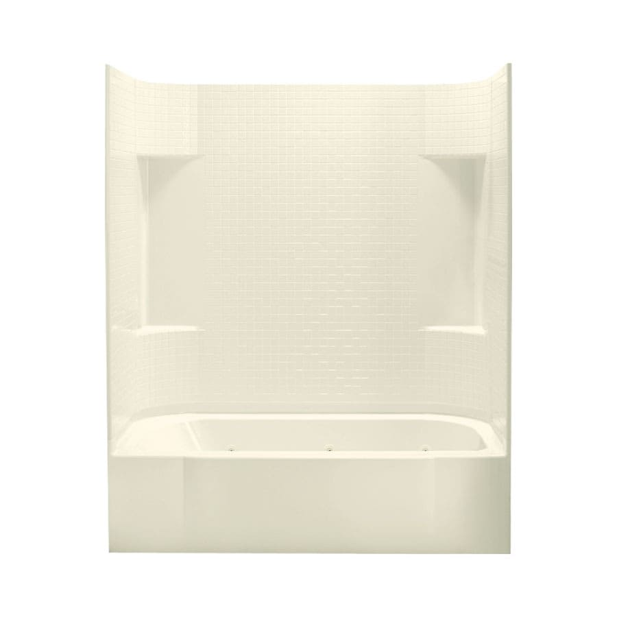 Sterling Accord Biscuit Fiberglass and Plastic Oval In Rectangle Whirlpool Tub (Common: 30-in x 60-in; Actual: 73.15-in x 31.25-in x 60.25-in)