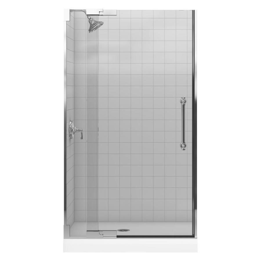 KOHLER Pinstripe 39.25-in to 41.34-in Frameless Pivot Shower Door