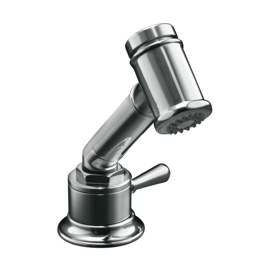 KOHLER Hirise Polished Stainless 1-Handle Low-Arc Kitchen Faucet with Side Spray