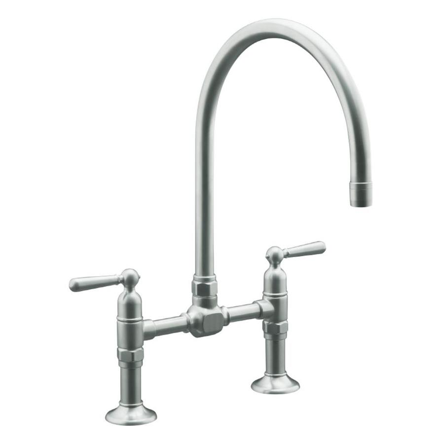 KOHLER Hirise Brushed Stainless 2-Handle High-Arc Kitchen Faucet