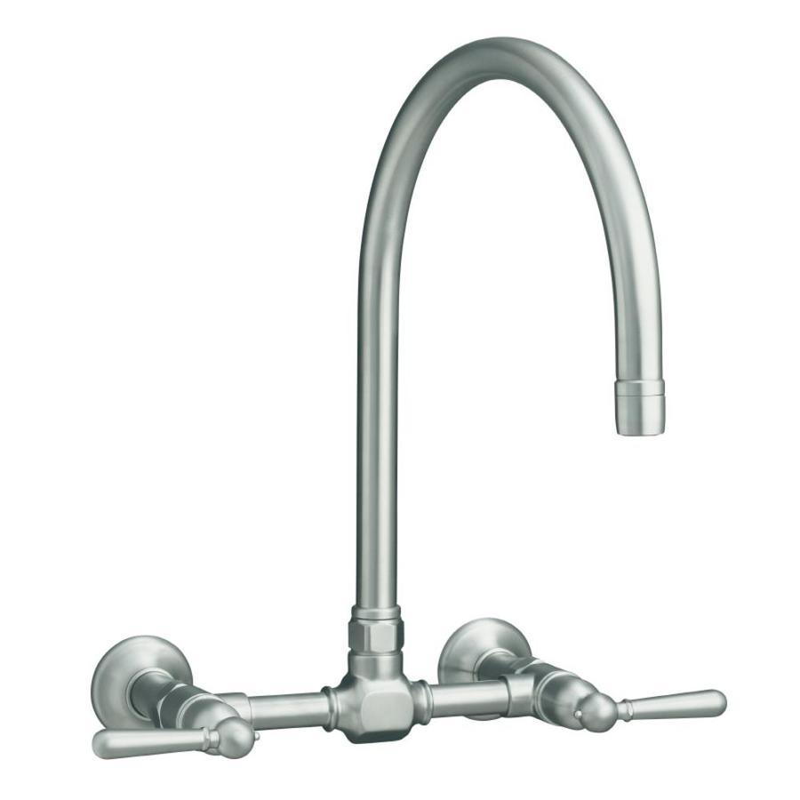 KOHLER Hirise Brushed Stainless 2-Handle High-Arc Wall Mount Kitchen Faucet