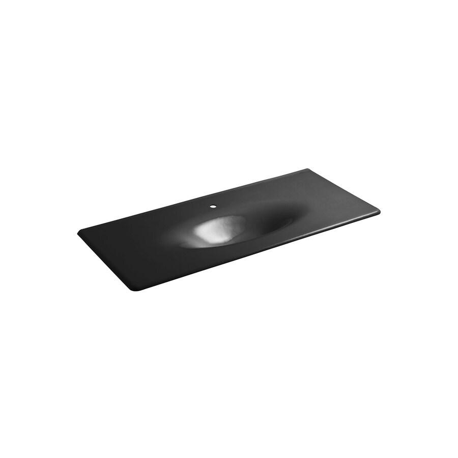 KOHLER Impressions Black Cast Iron Drop-in Oval Bathroom Sink