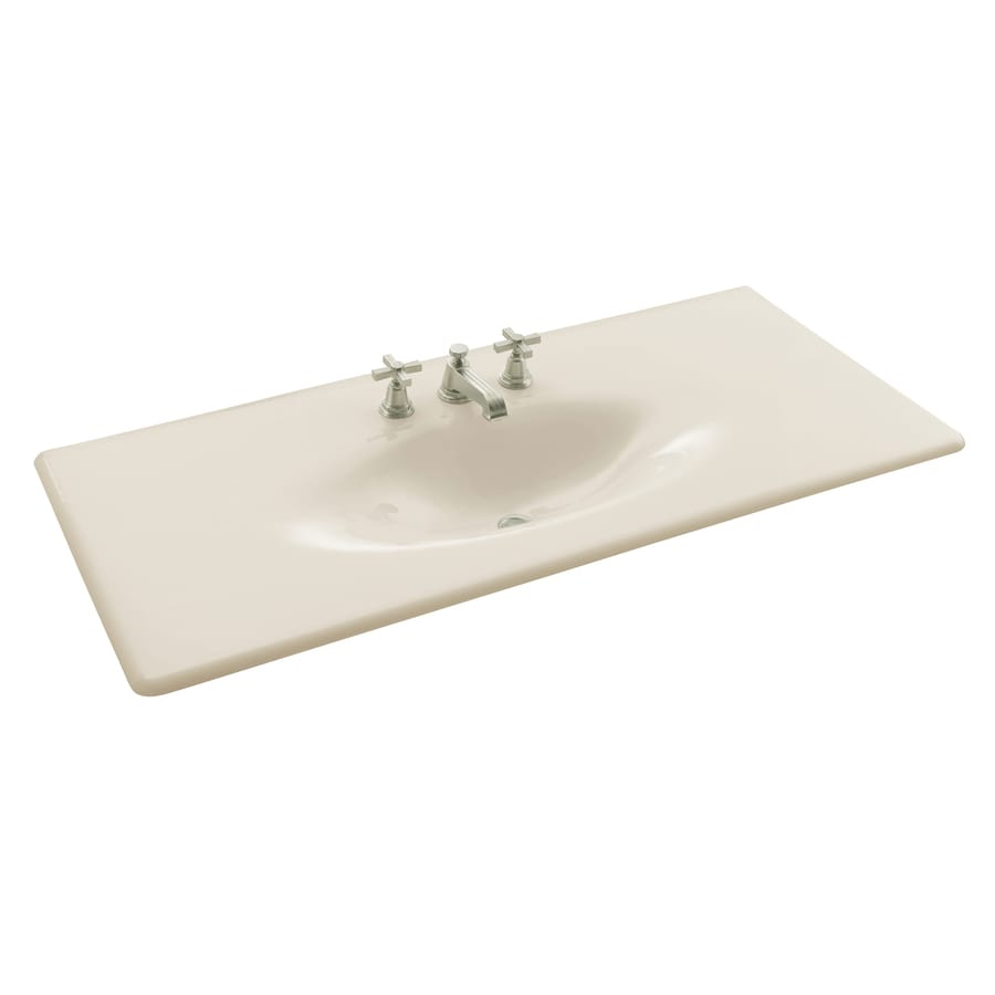 KOHLER Impressions Biscuit Cast Iron Drop-in Oval Bathroom Sink