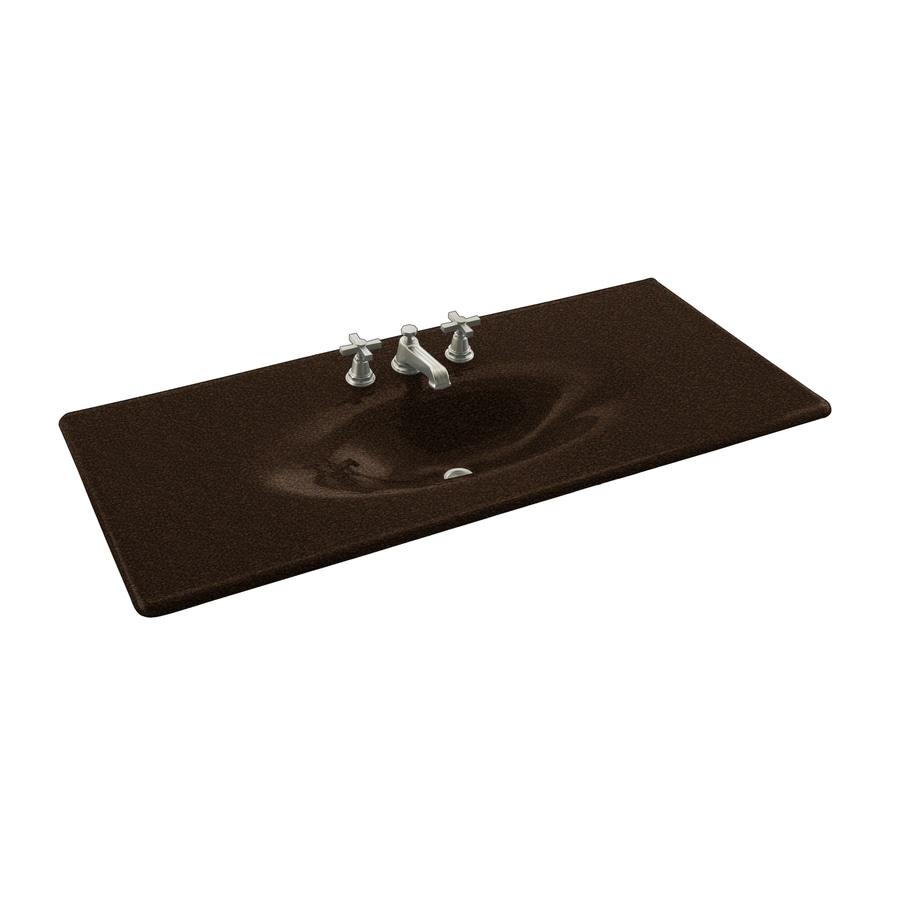 KOHLER Impressions Black and Tan Cast Iron Drop-in Oval Bathroom Sink