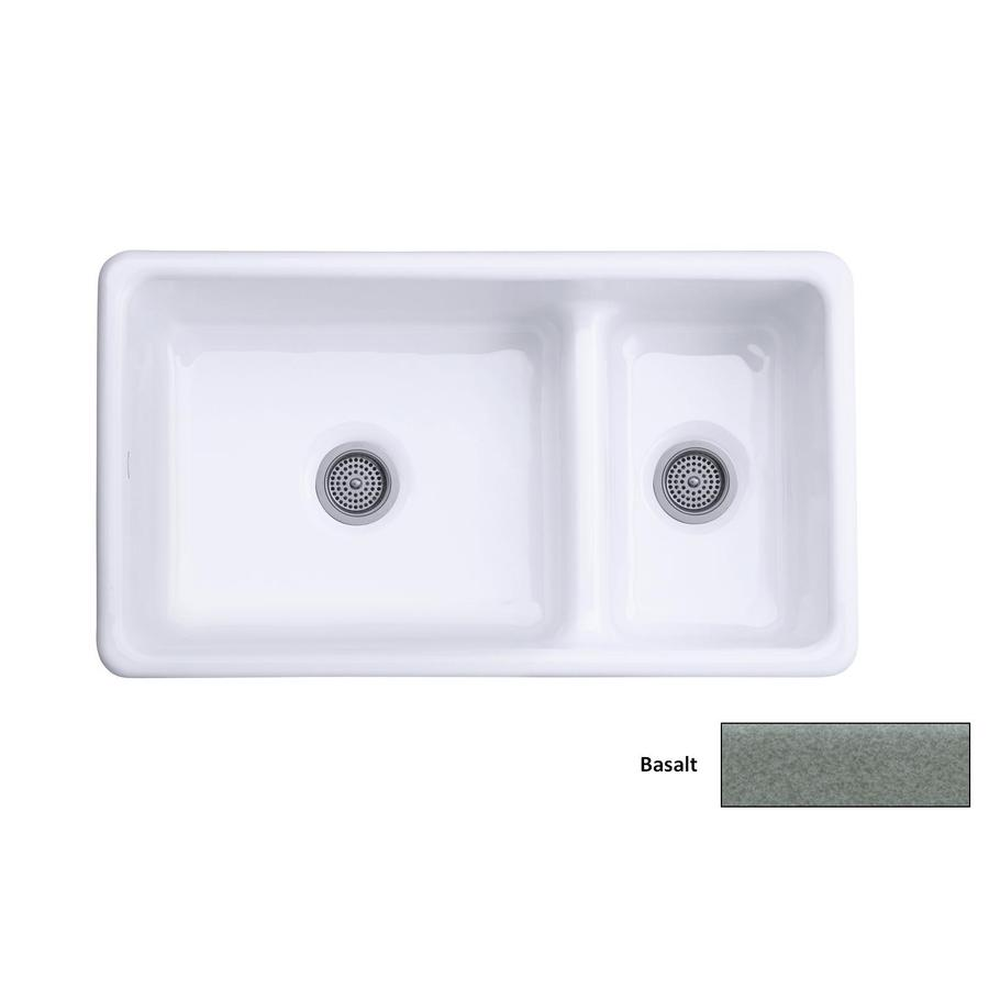 KOHLER Iron/Tones 18.75-in x 33-in Basalt Double-Basin Cast Iron Drop-in Residential Kitchen Sink