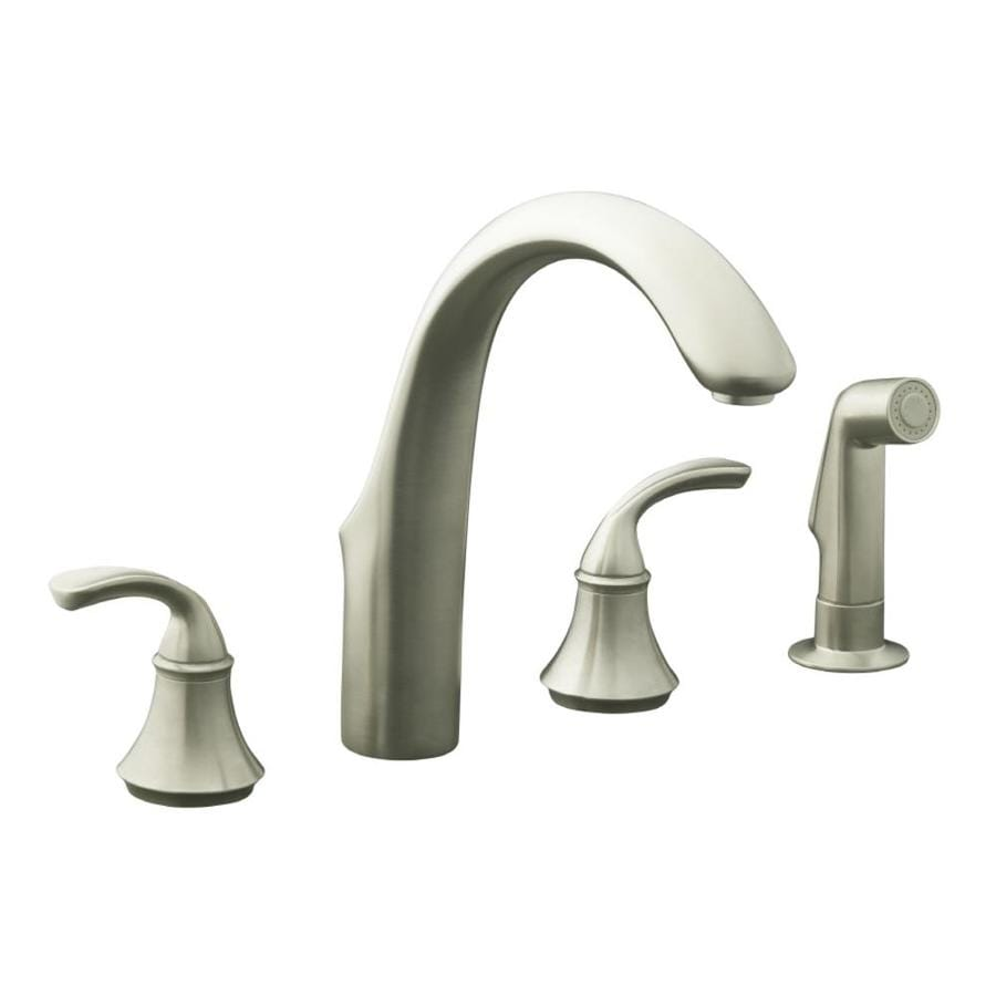 Shop Kohler Forte Vibrant Brushed Nickel 2 Handle High Arc Kitchen Faucet With Side Spray At
