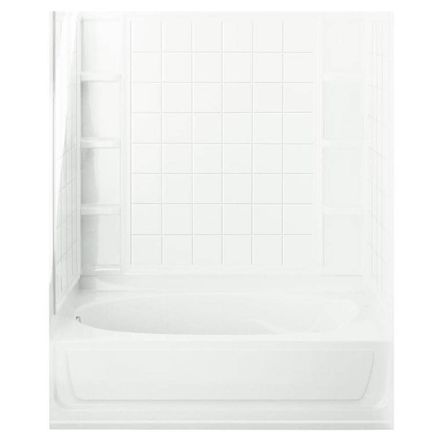 Sterling Ensemble AFD White Vikrell Wall and Floor 4-Piece Alcove Shower Kit with Bathtub (Common: 42-in x 60-in; Actual: 75.5-in x 43.5-in x 60-in)