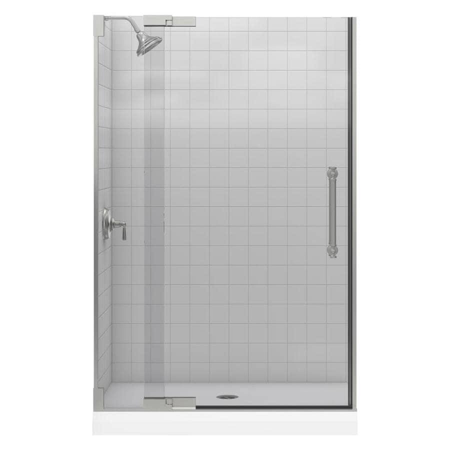 KOHLER Pinstripe 45.25-in to 47.75-in Frameless Pivot Shower Door