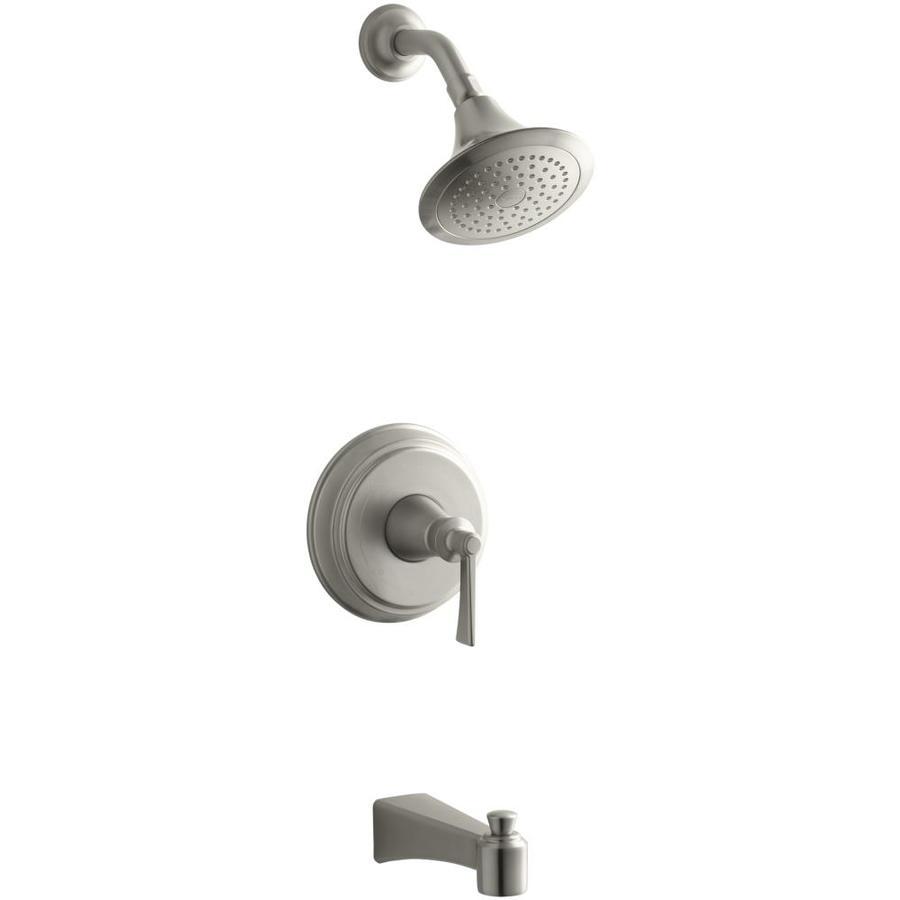 KOHLER Archer Vibrant Brushed Nickel 1-Handle Bathtub and Shower Faucet Trim Kit with Single Function Showerhead
