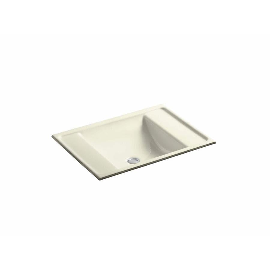 KOHLER Ledges Cane Sugar Cast Iron Undermount Rectangular Bathroom Sink with Overflow