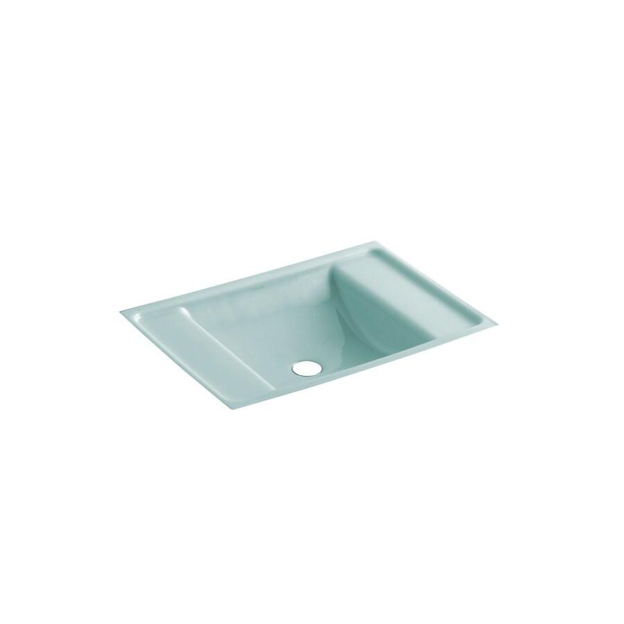 KOHLER Ledges Vapour Green Cast Iron Undermount Rectangular Bathroom Sink with Overflow