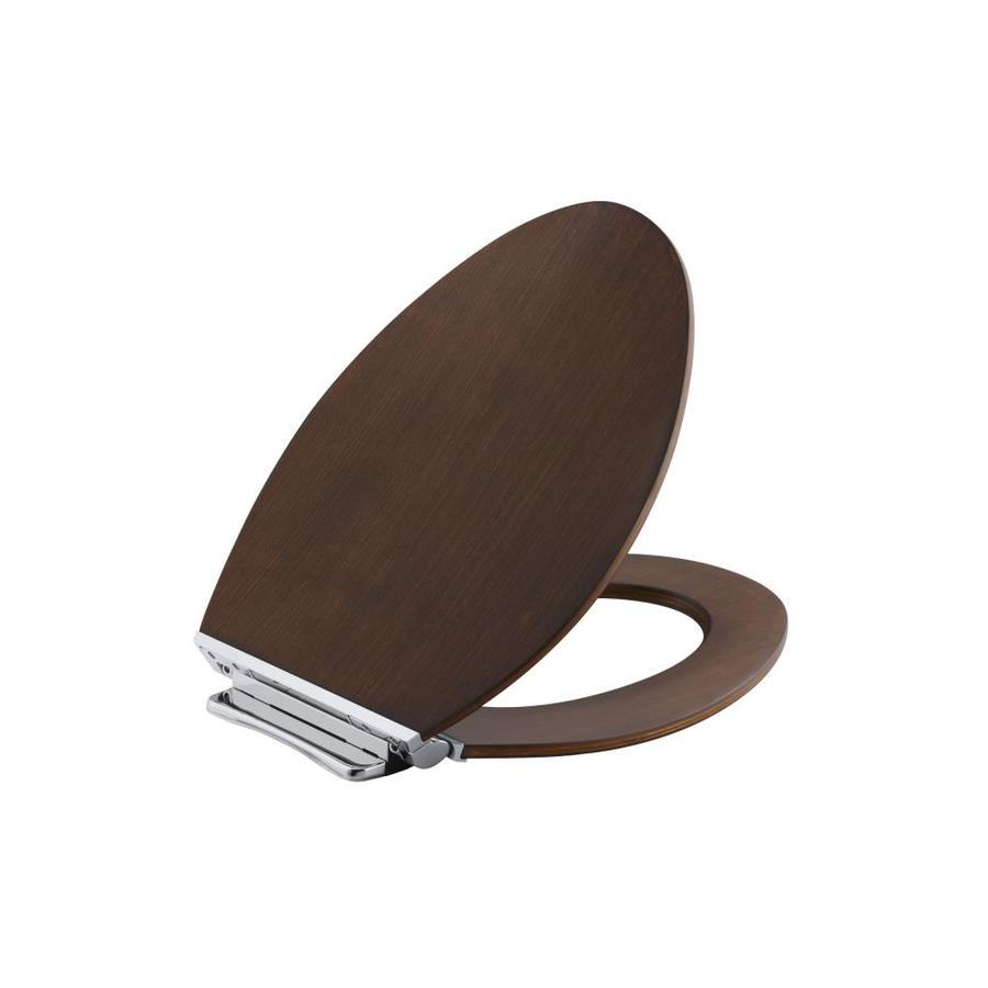 KOHLER Avantis Light Antique Walnut Wood Elongated Slow-Close Toilet Seat