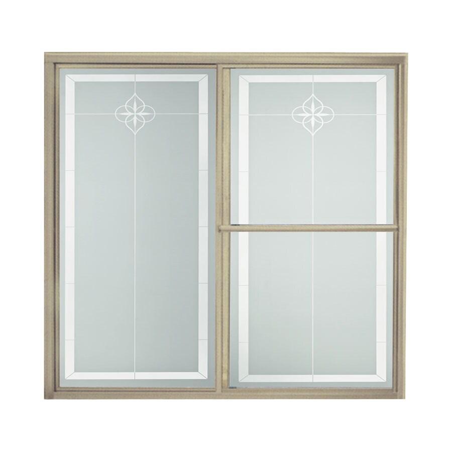 Sterling 59.38-in W x 56.25-in H Brushed Nickel Bathtub Door