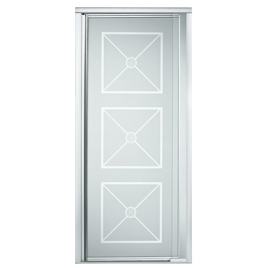 Sterling 27-1/2-in to 31-1/4-in Silver Framed Pivot Shower Door