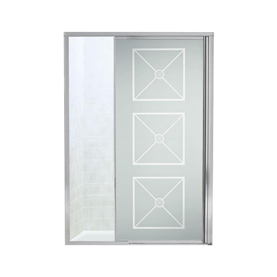 Sterling 42-in to 48-in Silver Framed Pivot Shower Door